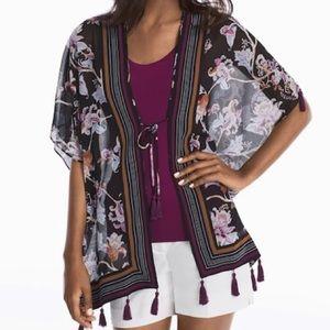 WHBM floral print tassel kimono cover up top SP/MP